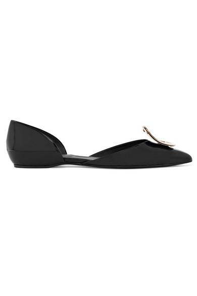 Roger Vivier Dorsay Sexy Choc Patent Ballerina Flats In Black