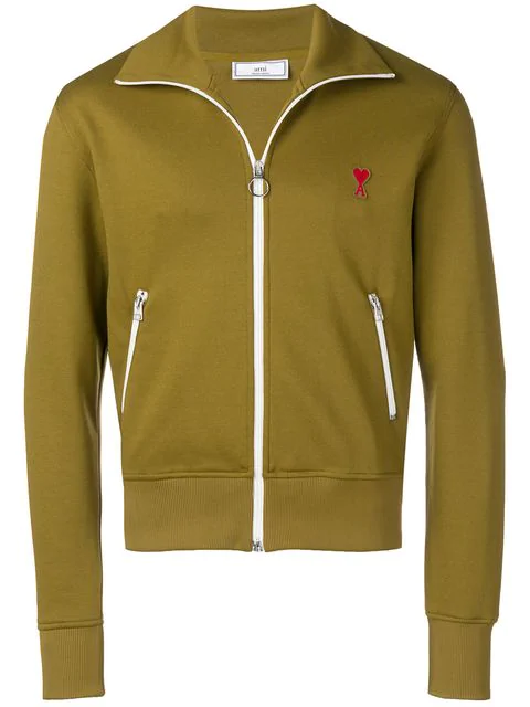 Ami Alexandre Mattiussi Zipped Sweatshirt With High Collar And Ami De Coeur Patch In Green
