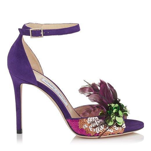 Jimmy Choo Annie 100 Iris Suede And Jazzberry Mix Feather Embroidery Peep Toe Sandals In Iris/jazzberry Mix