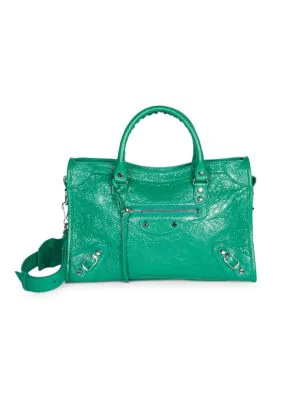 Balenciaga Classic City Nickel Small Tote Bag, Black (Noir) In Green