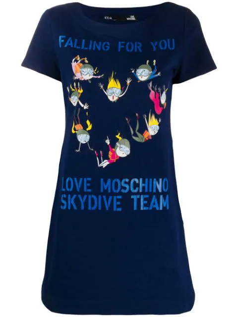Love Moschino Skydiving Print T-shirt Dress In Blue