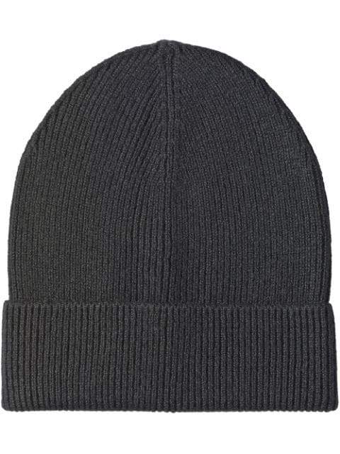 Prada Cashmere Ribbed Beanie In Black