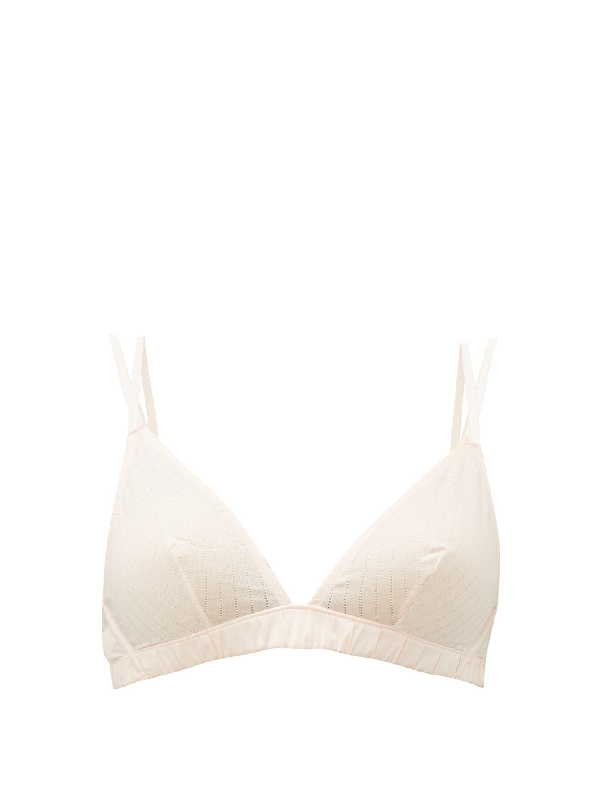 Rossell England Criss-cross Pointelle-cotton Bra In Nude