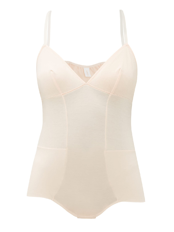 Rossell England Panelled Cotton-jersey Bodysuit In Nude