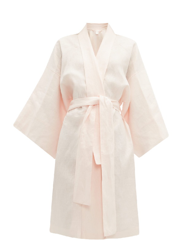 Rossell England Angled Linen Kimono-style Robe In Nude