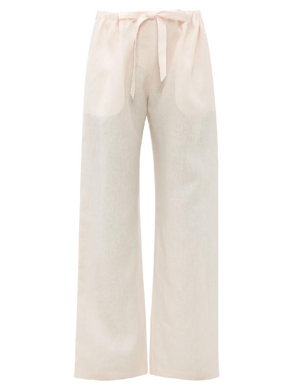 Rossell England Drawstring-waist Linen Pyjama Trousers In Nude