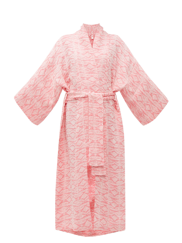 Rossell England Geometric-jacquard Tie-waist Linen Robe In Pink