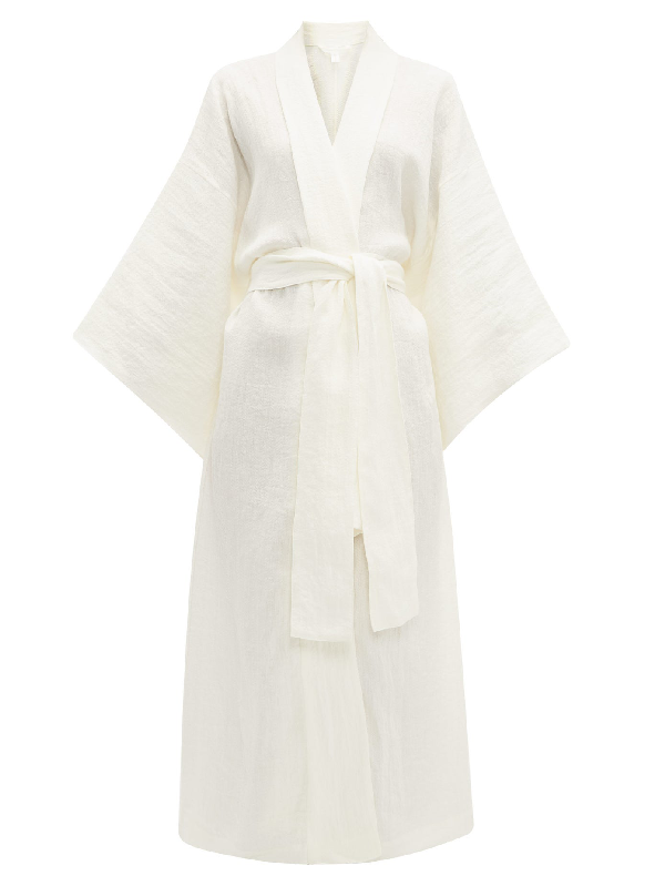 Rossell England Exaggerated-sleeve Linen Robe In Cream