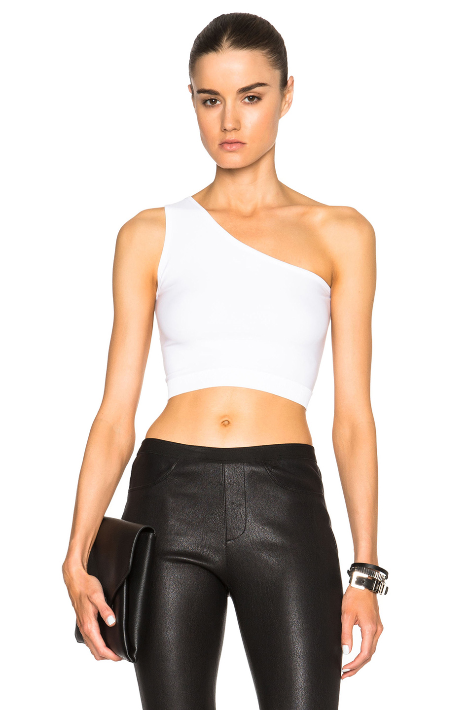4c86901a2c9 Helmut Lang One-Shoulder Cropped Stretch-Knit Bra Top, Optic White ...