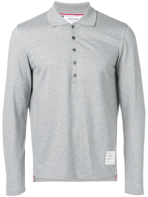 Thom Browne Long Sleeve Jersey Polo In Grey