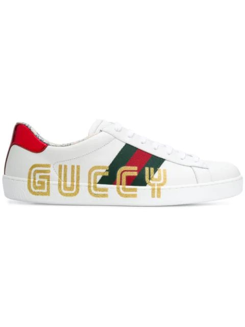 Gucci Ace Guccy-Print Leather Sneakers In White