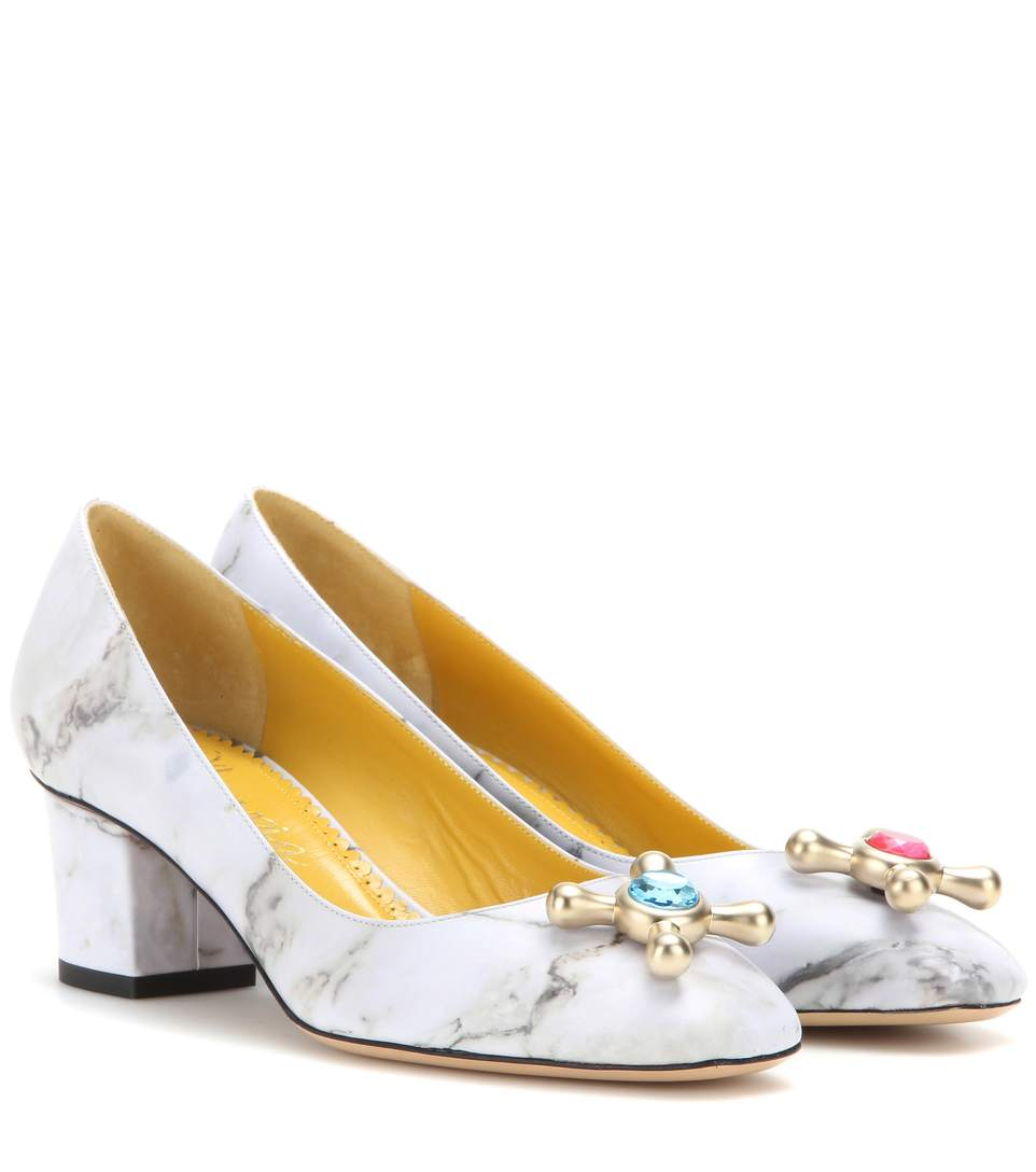 Charlotte Olympia Oprah Marble-Print Leather Pumps In Multi