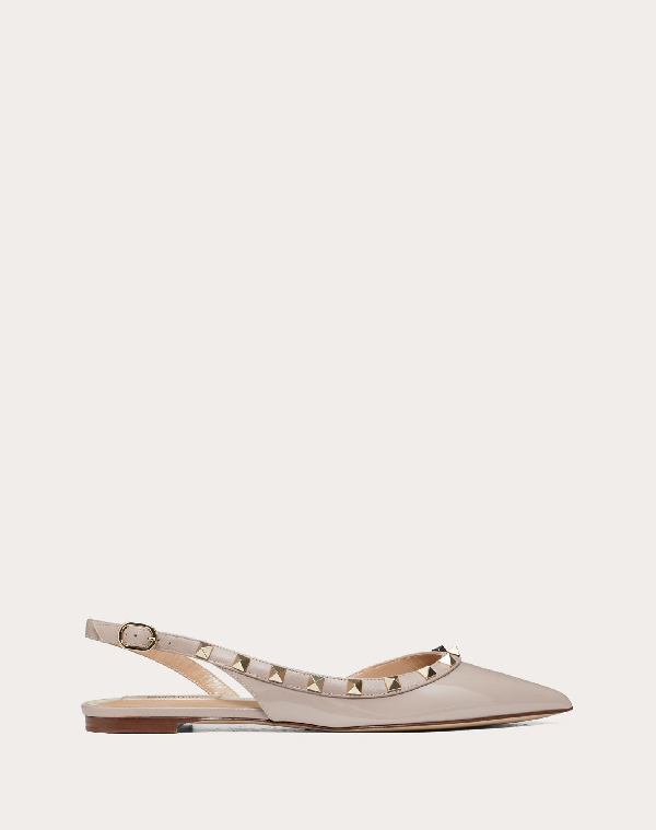 Valentino Rockstud Point Toe Leather Ballerina Slingback Flats In Pink