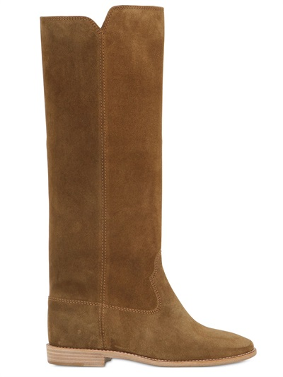 Isabel Marant ÉToile Cleave Concealed Wedge Suede Boots In Brown