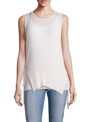 Helmut Lang Merino Wool Side-tie Tank In White
