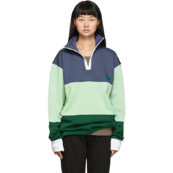 Acne Studios Flint Flag Face Sweatshirt In Denim Blue