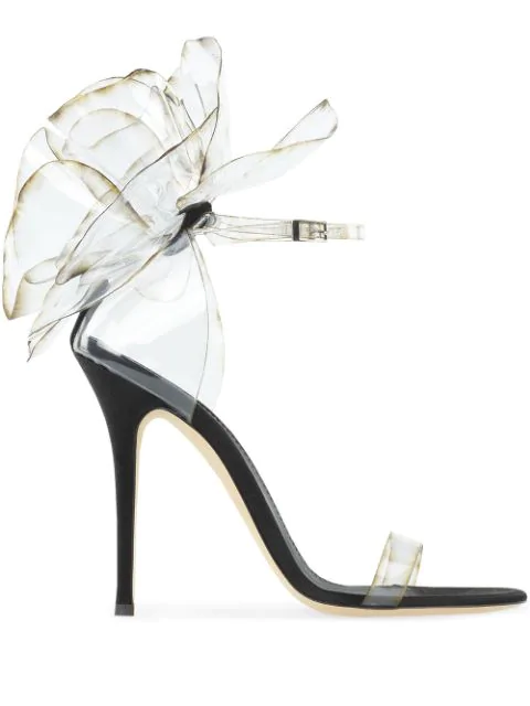 Giuseppe Zanotti Vinyl Flower Ankle-Strap Sandals In Black