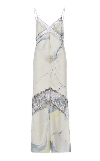 Marina Moscone Lace-trimmed Printed Satin Midi Dress In Multi