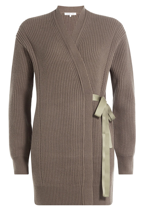 Helmut Lang Ribbed Wool-cashmere Cardigan Wrap In Green