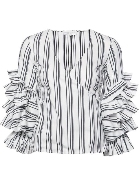 Caroline Constas Athena Ruffled Striped Stretch Cotton-blend Top In Blk-wht