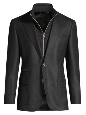 Robert Graham Men's Classic-fit Downhill Woven Wool & Cashmere Single-breasted Blazer In Black