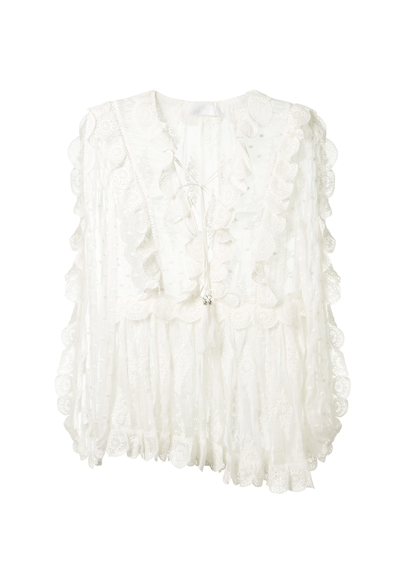 Zimmermann Valour Embroidered Silk-crepon Blouse In Ivory