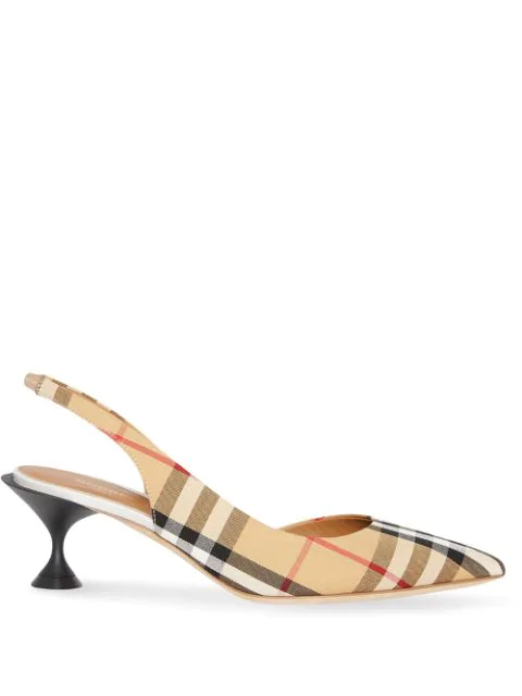 Burberry Women's Leticia Vintage Check Kitten-Heel Pumps In Neutrals