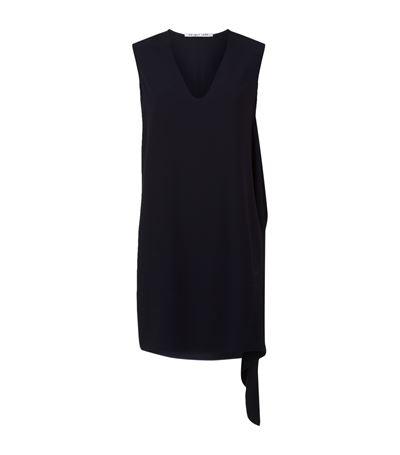 Helmut Lang Sleeveless Draped Crepe Shift Dress, Navy