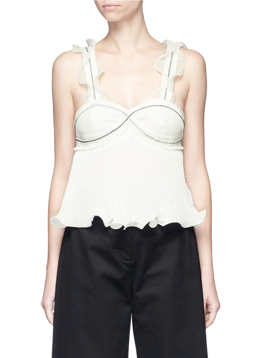 3.1 Phillip Lim Ruffle-trimmed PlissÉ-silk Crepe De Chine Top In Antique White