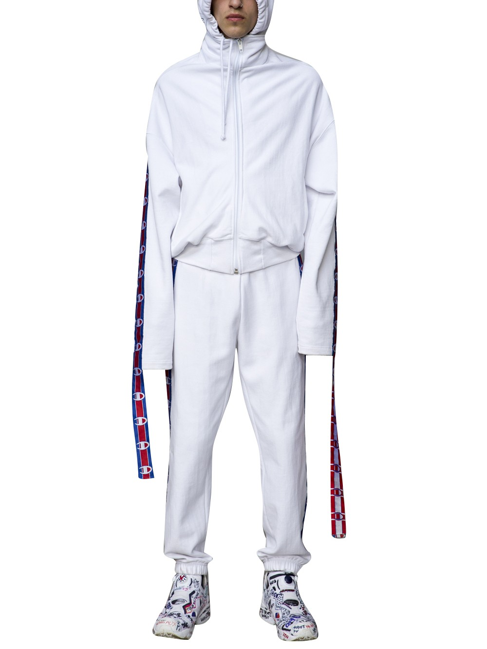 c22c5e4cdb4f Vetements White Champion Edition Tape Track Pants