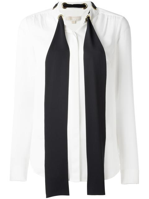 Michael Michael Kors Neck Tie Shirt - White