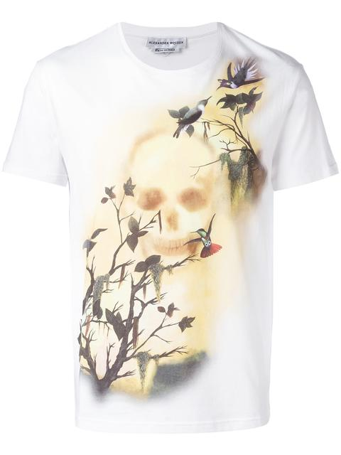 Alexander Mcqueen Skull Hummingbird Print Organic Cotton T-shirt In Grey