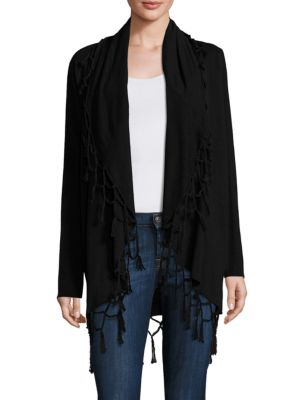Ella Moss Ninette Fringed Open-front Wool & Cashmere Blend Sweater In Black