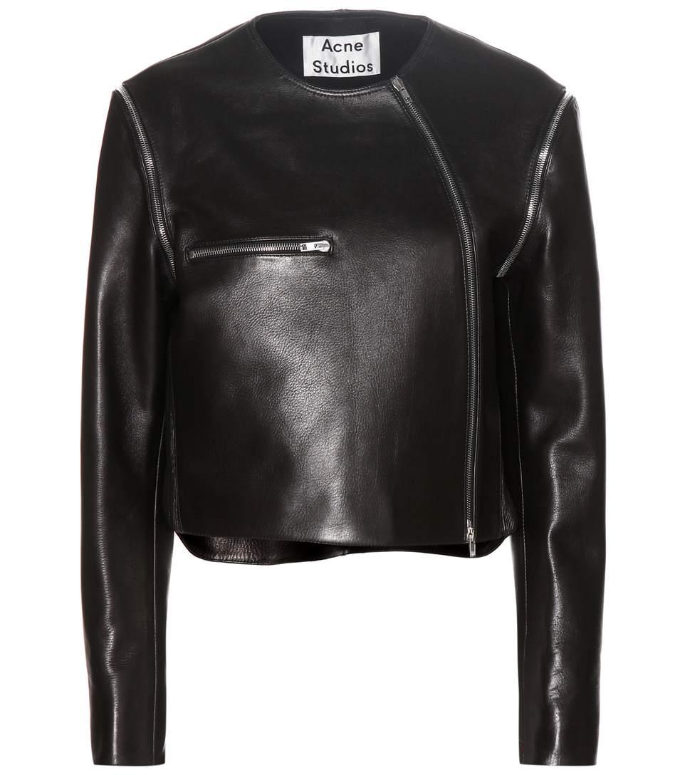 Acne Studios Marrau Cropped Black Leather Jacket In Llack