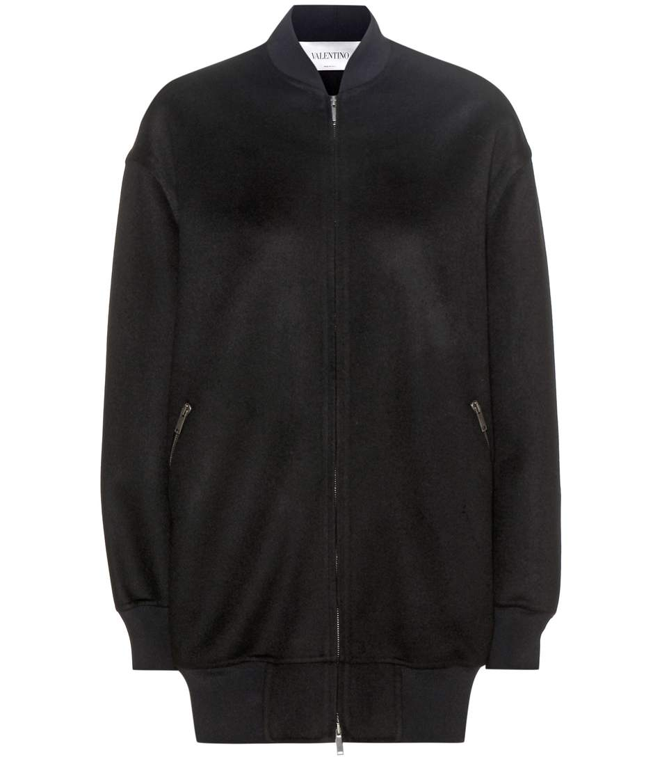 Valentino Wool And Cashmere Bomber Jacket In Llack