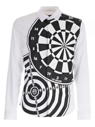 Love Moschino Printed Shirt In Aoptical White