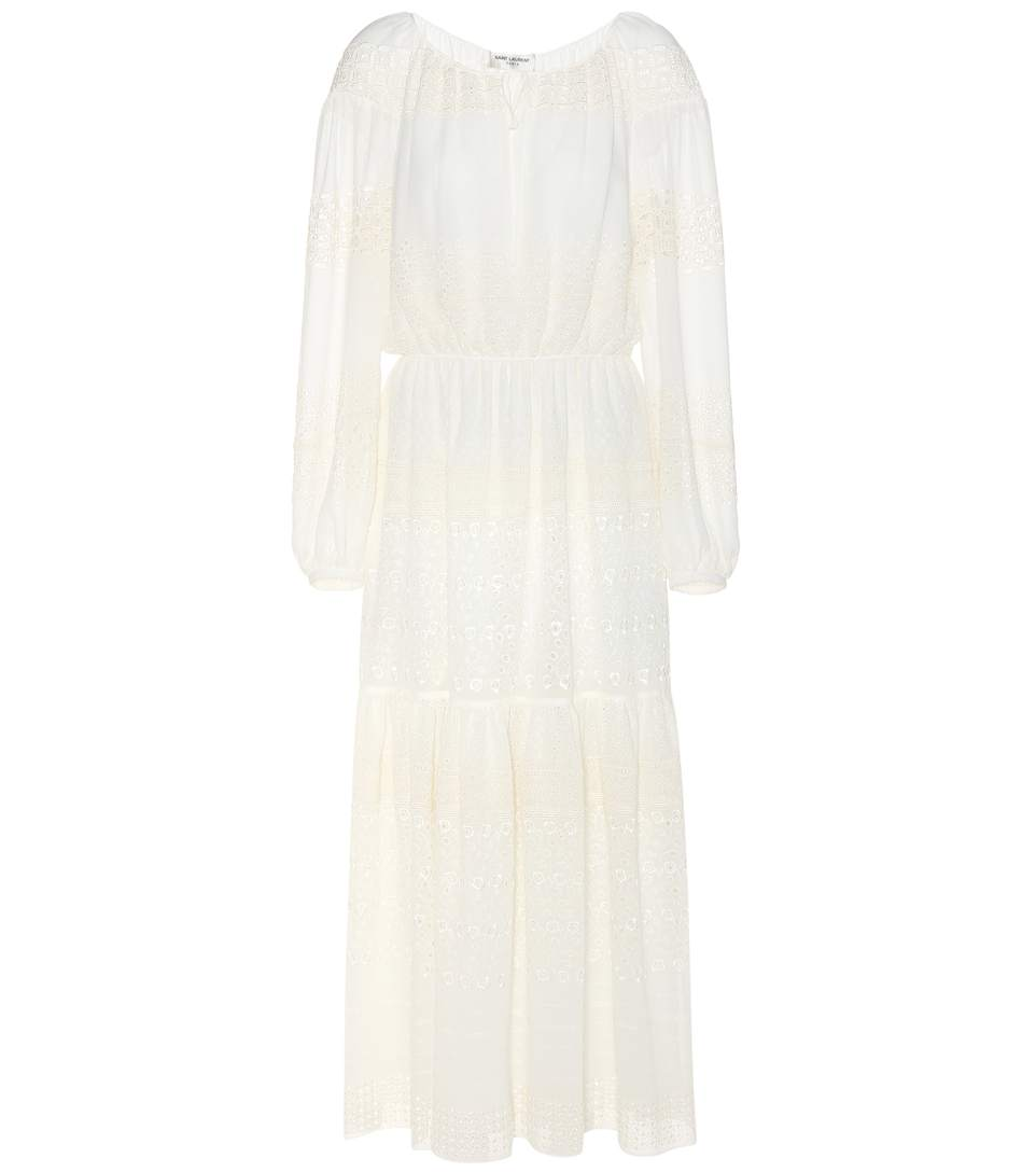 Saint Laurent Embroidered Silk-blend Dress In White
