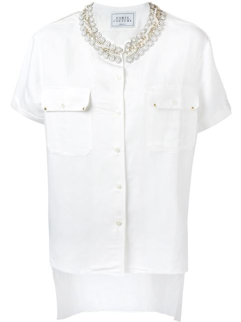 Forte Couture Forte Dei Marmi Couture Studded Collar Shirt - White
