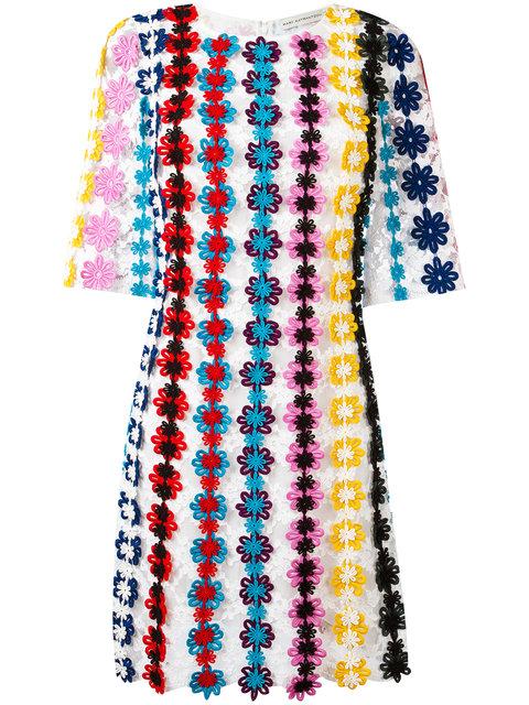 Mary Katrantzou Half-sleeve Guipure Lace Shift Dress, Multi In White
