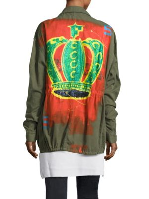 Faith Connexion Hand Painted Cotton Field Jacket In Military Green