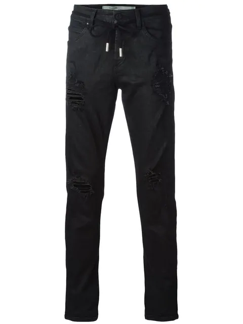 Off-white Black Diagonal Spray Denim Pants