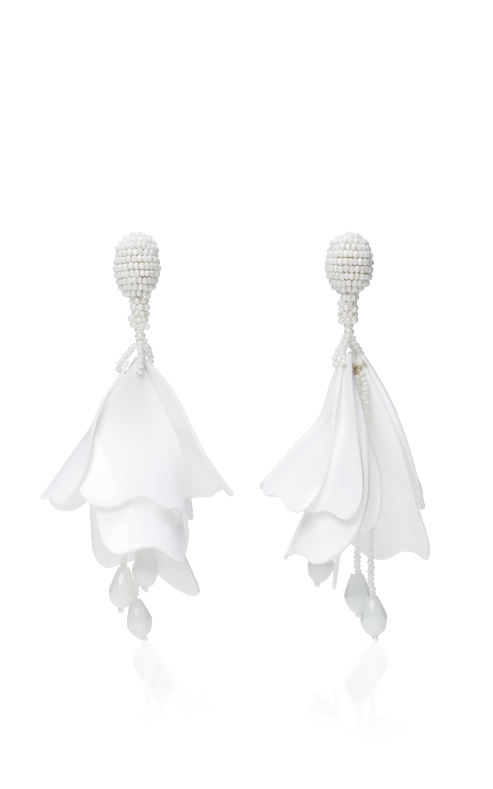 Oscar De La Renta Impatiens Flower Drop Earrings, Opaque White In Silver-tone