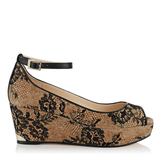 0e3065c67e Jimmy Choo Pacific 70 Black Lace Peep Toe Sandals With Lace Covered Cork  Wedge In Natural