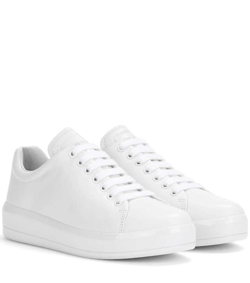 Prada Women's Leather Low-top Sneakers In Liaeco