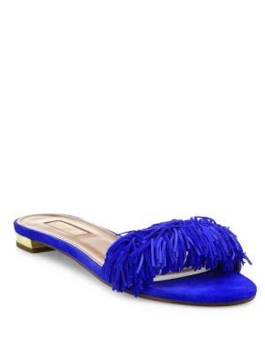 Aquazzura Wild Thing Fringed Suede Slides In  Blue