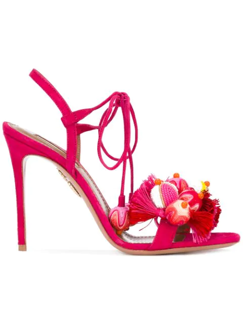 Aquazzura Tropicana Tasseled Beaded Suede Sandals In Paradise Pink