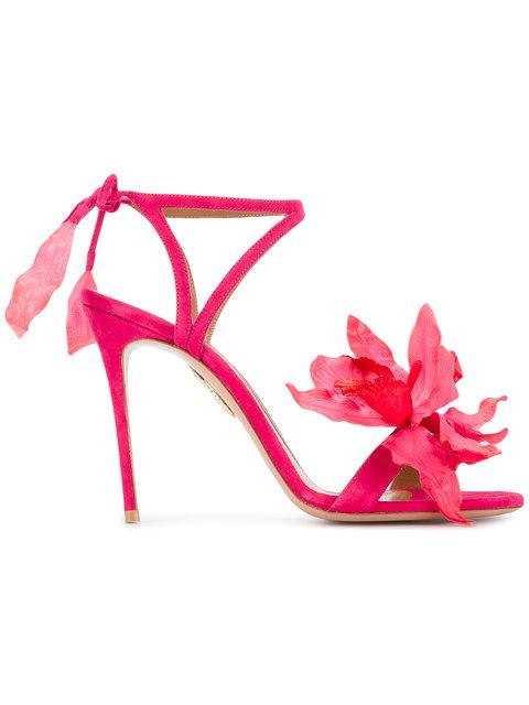 Aquazzura Flora Suede Back-tie Sandals In Pink