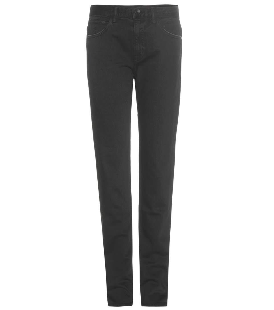 Helmut Lang Relaxed Tapered Distressed Jeans In Llack
