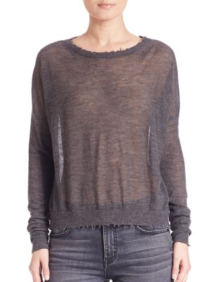 Helmut Lang Raw Edge Cashmere Crewneck Sweater In Charcoal