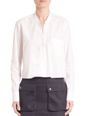 Helmut Lang Cotton Crop Shirt In Off White